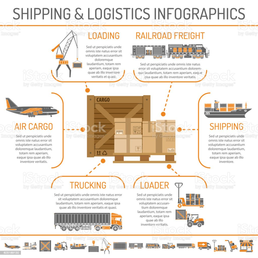 Shipping and logistics infographics vector art illustration