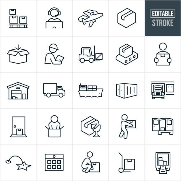 stockillustraties, clipart, cartoons en iconen met verzend- en logistieke thin line-pictogrammen - bewerkbare slag - warenhuismedewerker