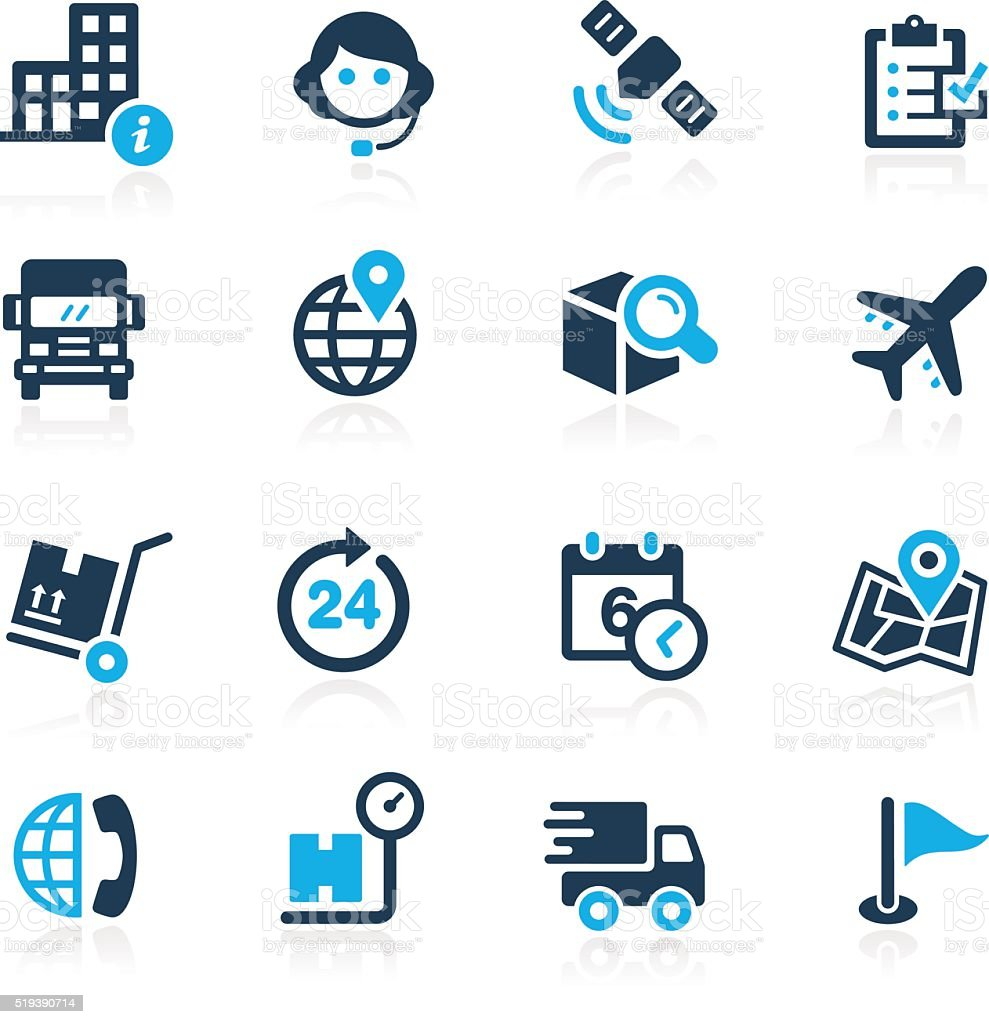 Shipping and Tracking icons - Azure Series vector art illustration