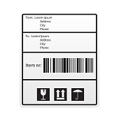 shipping bar code label sticker for shipping company. vector illustration