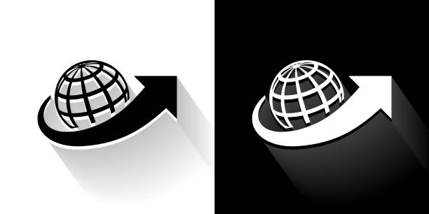 Shipping Black and White Icon with Long Shadow vector art illustration