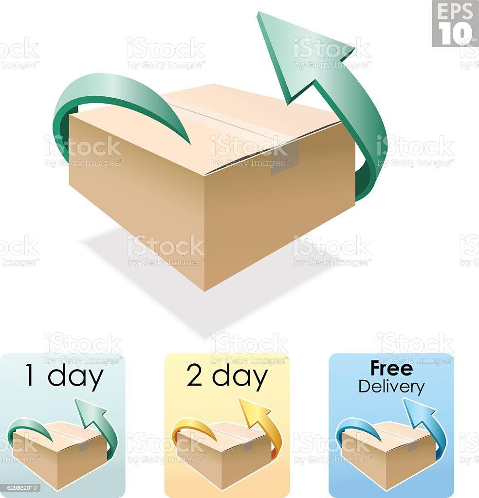 Shipping box, free delivery, return package vector art illustration