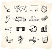 Shipping, Business and Manufacturing Sketch Icons