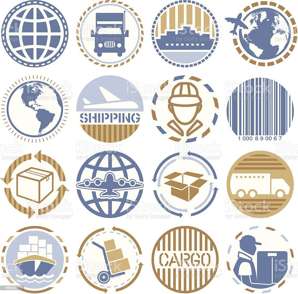 Shipping- Circle Icons/Seals royalty-free stock vector art