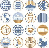Set of circular color icons/seals on shipping theme.