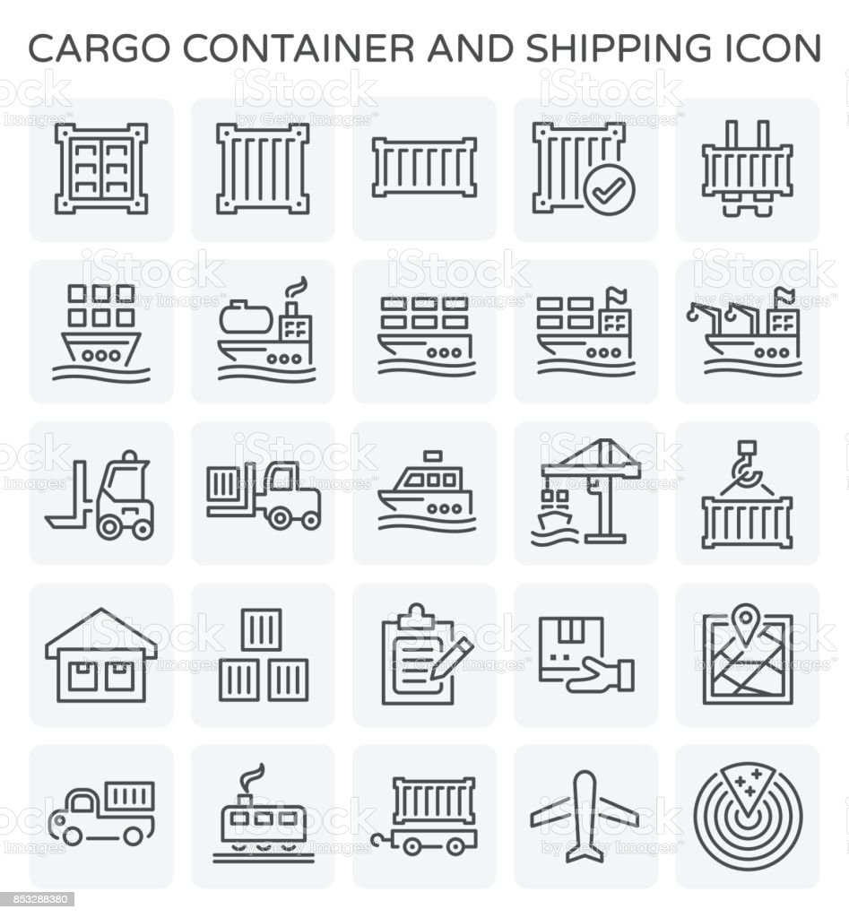 shipping container icon vector art illustration
