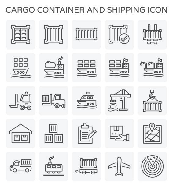 shipping container symbol - container stock-grafiken, -clipart, -cartoons und -symbole