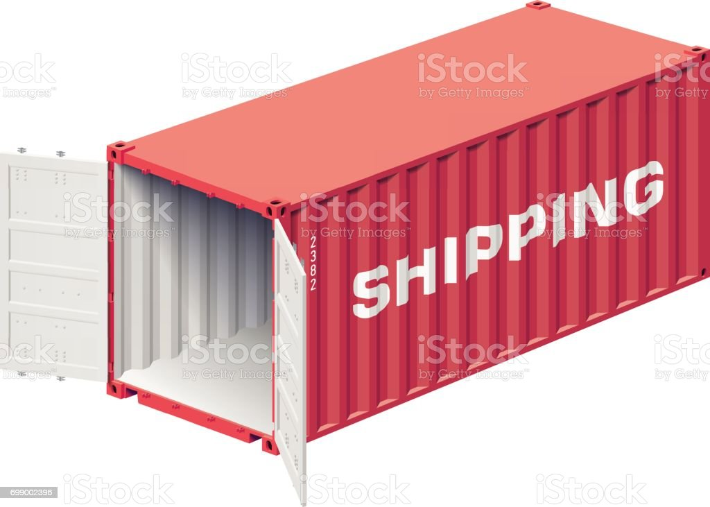 Shipping container open vector art illustration