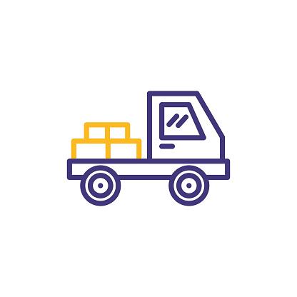 Shipping delivery truck. Line icon design.Editable Stroke