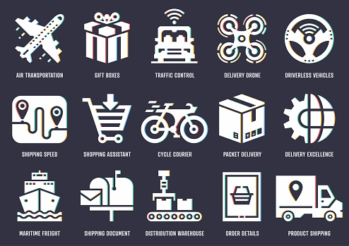 Shipping Economics Vector Icon Pack With RGB Split Effect