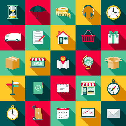 Shipping Flat Design Icon Set with Side Shadow