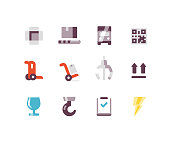 Shipping icons including, conveyor belt, qr code, dolly, claw, hook, fragile symbol, this side up