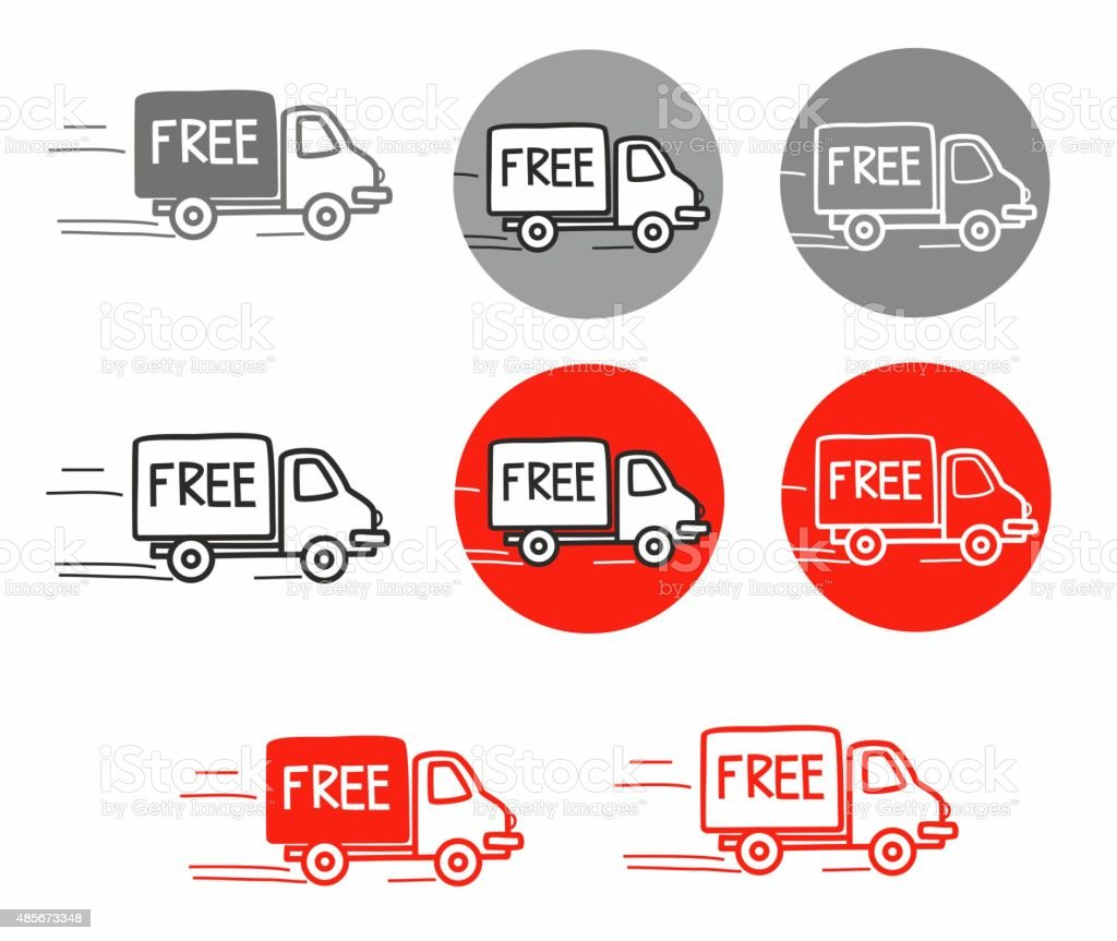 Shipping Free Car Truck Handdrawn Drawing Sign Stock Illustration Download Image Now Istock