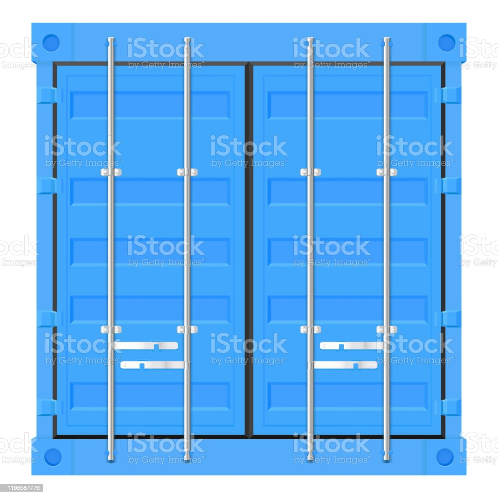 Shipping Freight Container Blue Intermodal Container Front