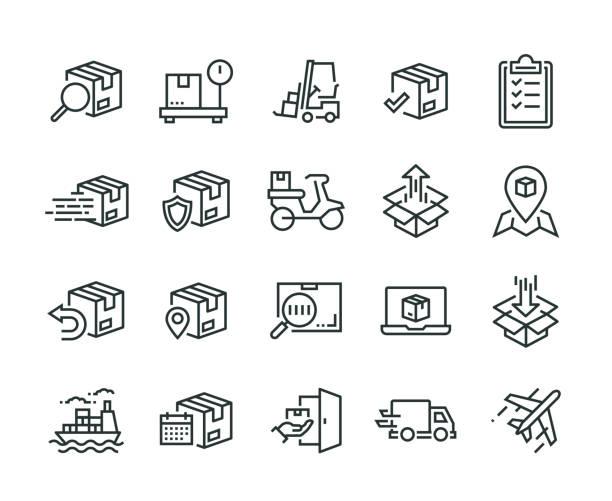 versand-icon-set - groß stock-grafiken, -clipart, -cartoons und -symbole