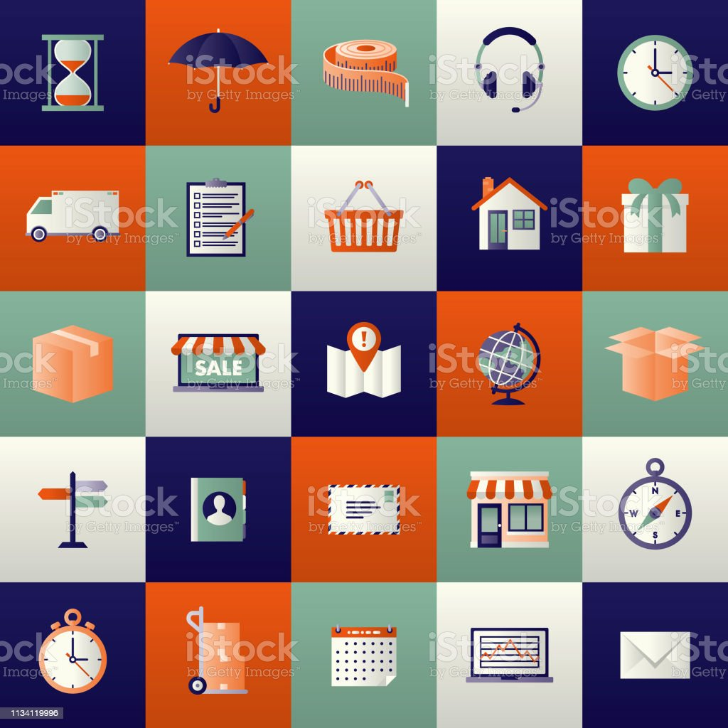 Shipping Icon Set vector art illustration