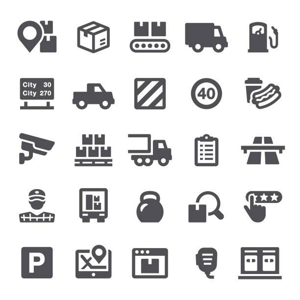 ilustraciones, imágenes clip art, dibujos animados e iconos de stock de iconos de envío - conductor de autobús