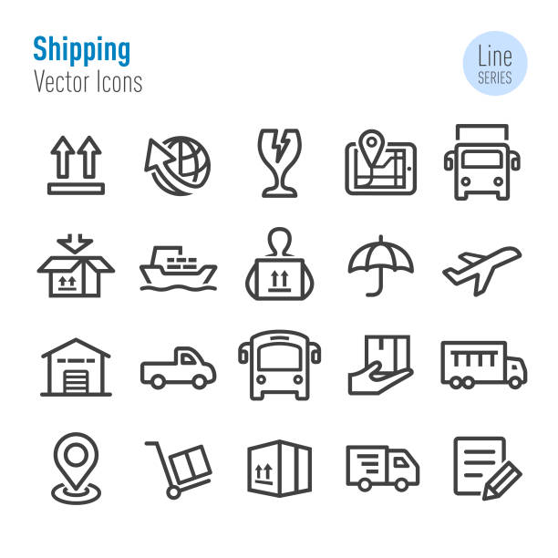 shipping icons - vector line series - part of a series stock illustrations, clip art, cartoons, & icons