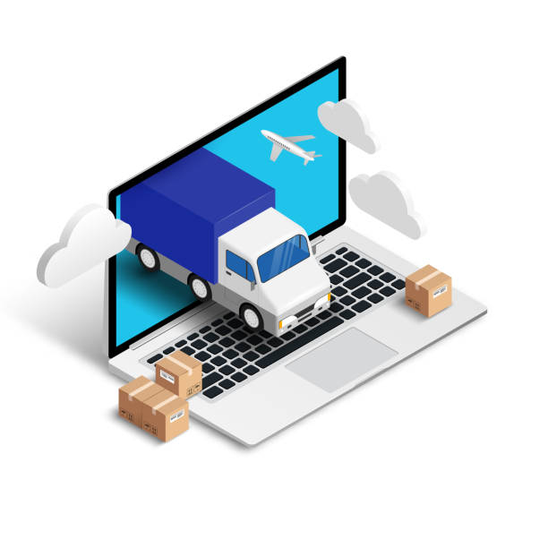 Shipping isometric concept laptop with truck Shipping service online isometric concept with laptop, truck, plane, boxes isolated on white background. Logistic digital shopping advert 3d design. Vector illustration for web, banner, ui, mobile app e commerce stock illustrations