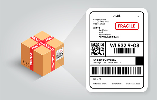 Shipping label on cardboard box template. Barcode and qr code for scanning. Postal Fragile sign and Scotch tape. Real life mockup. Cargo sticker with adress.