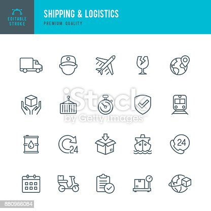 Set of Shipping & Logistic thin line vector icons.