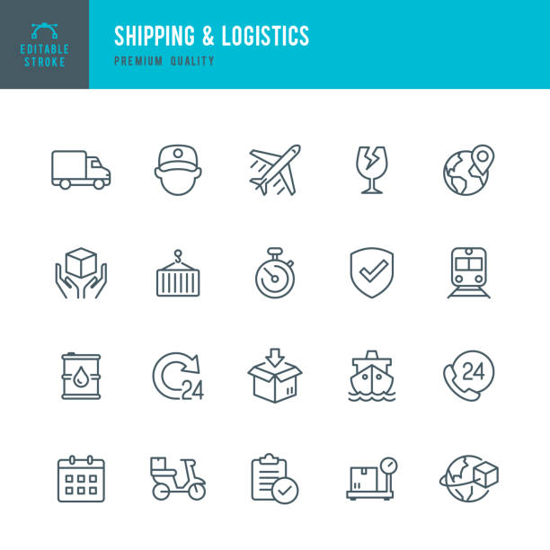 Shipping & Logistic - set of thin line vector icons vector art illustration