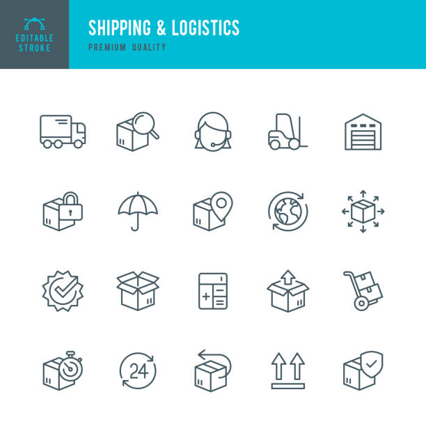 shipping & logistic - set of thin line vector icons - warehouse stock illustrations