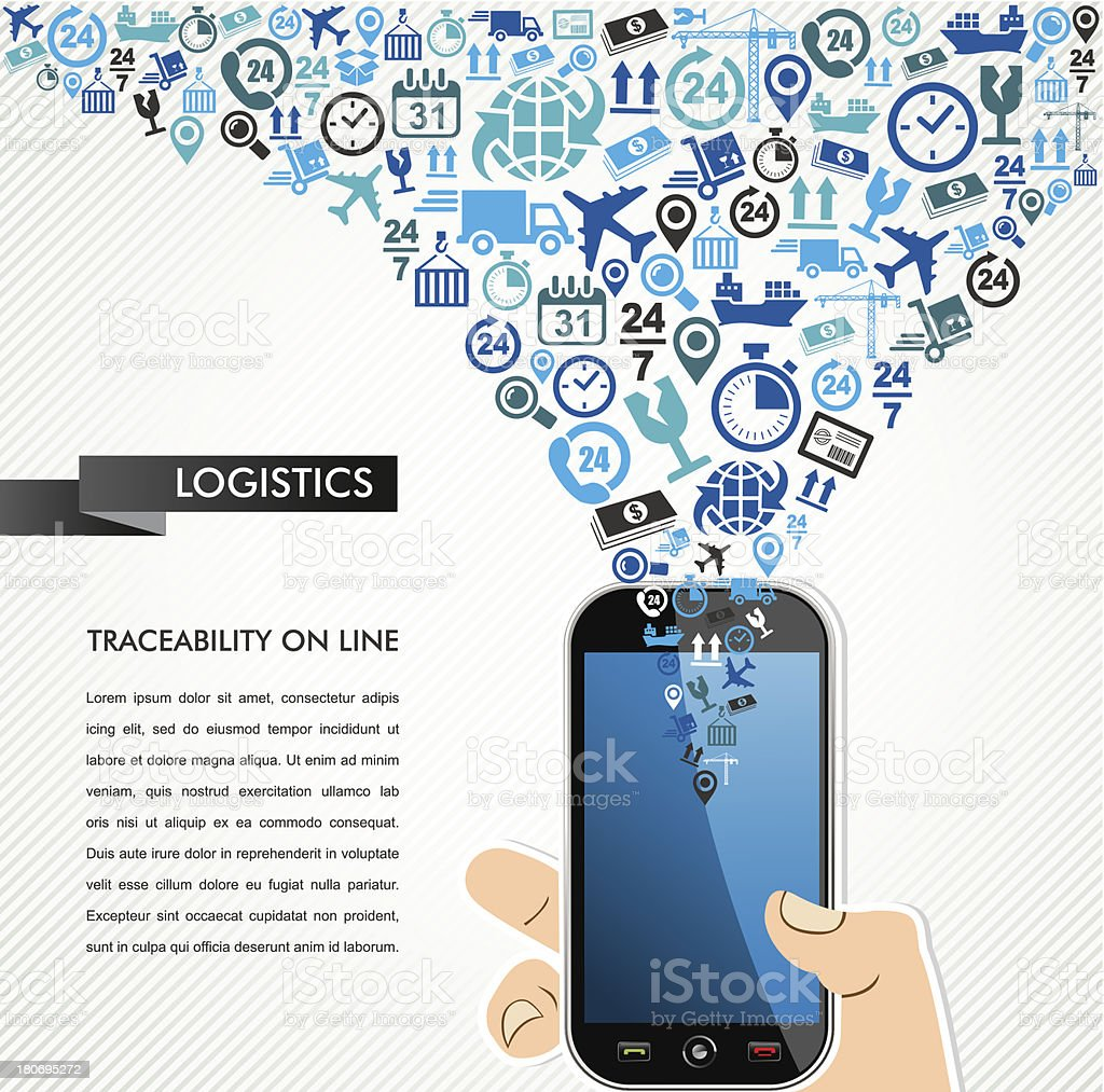 Shipping logistics concept icons set, human hand smart phone illustration. royalty-free shipping logistics concept icons set human hand smart phone illustration stock vector art & more images of 24 hrs