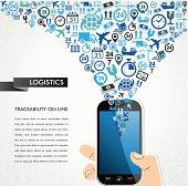 Shipping logistics concept icons set, human hand smart phone illustration.