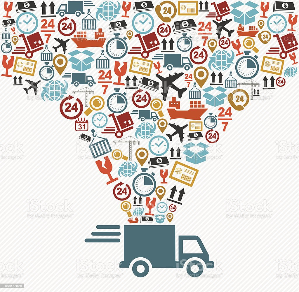 Shipping logistics delivery concept: speedy truck with icons splash illustration. vector art illustration