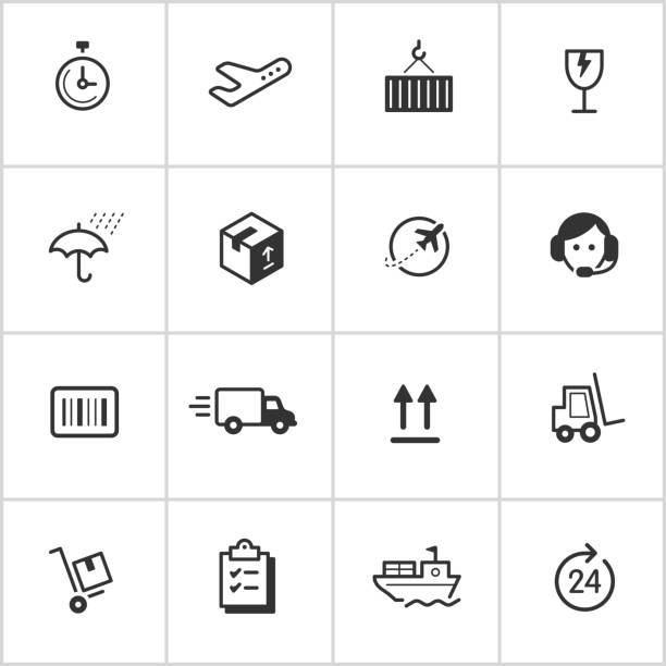 Shipping & Logistics Icons — Inky Series vector art illustration