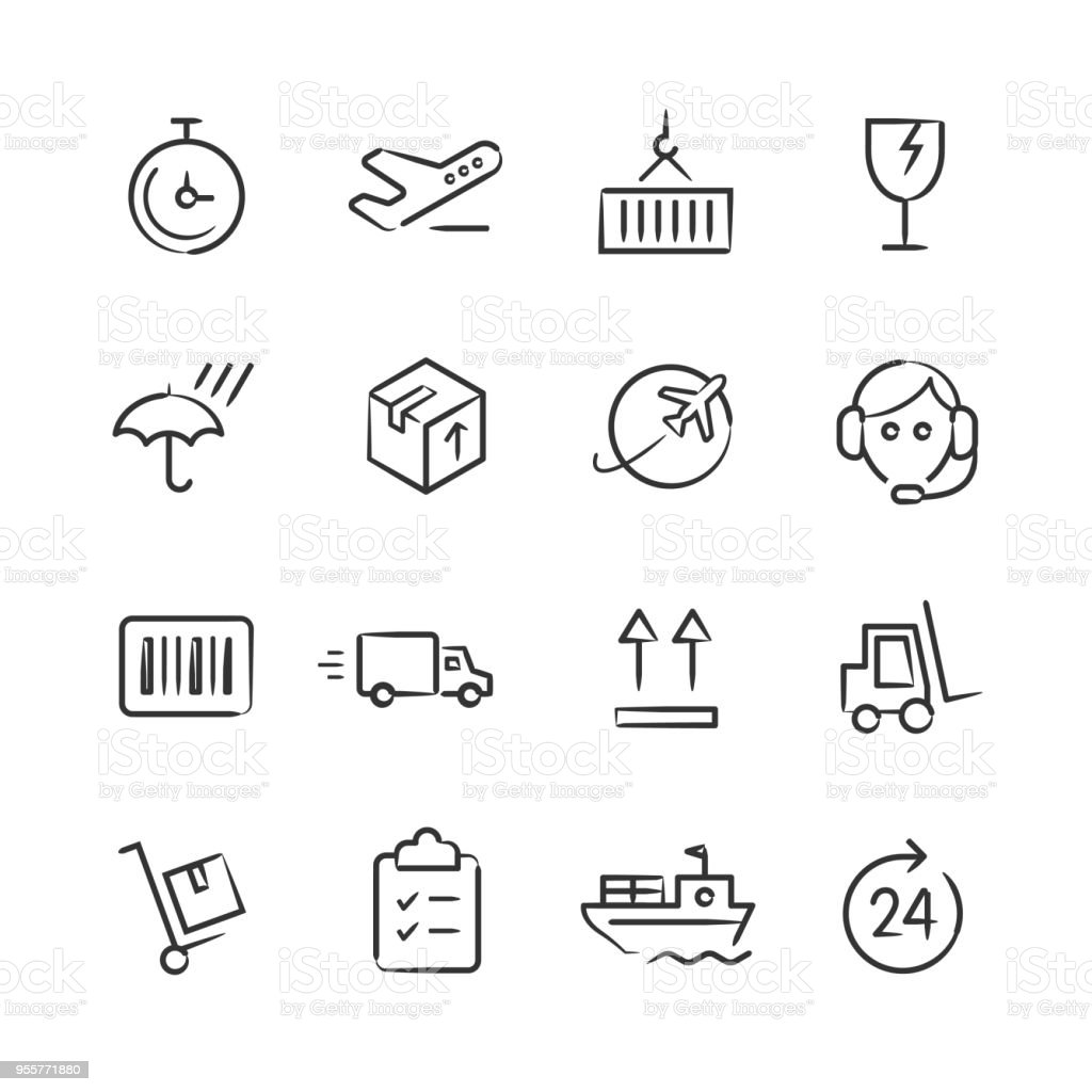Shipping & Logistics Icons — Sketchy Series vector art illustration