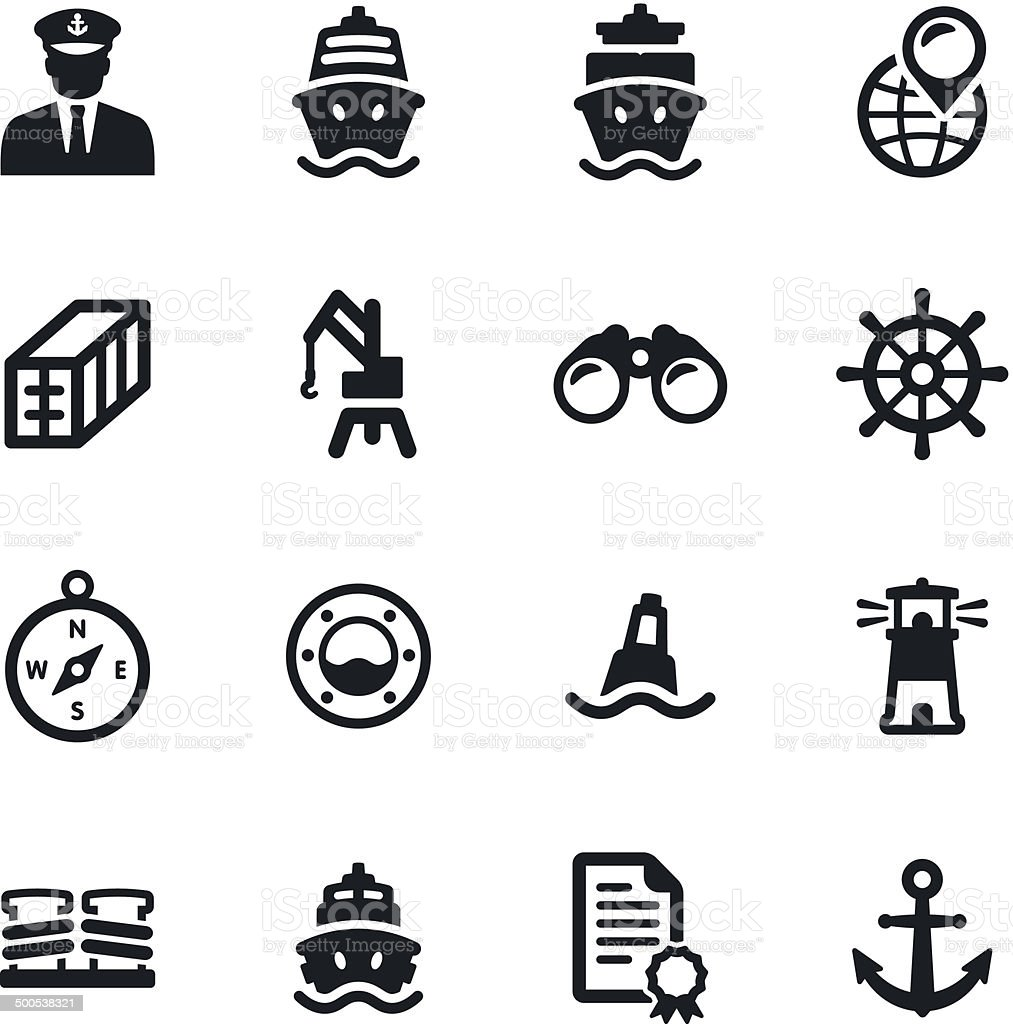 Shipping Port Icons vector art illustration