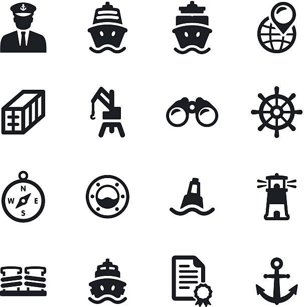 Shipping Port Icons vector art illustration