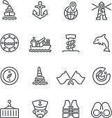 Shipping Port Line icons