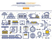 Line vector illustration of shipping services. Banner/Header Icons.