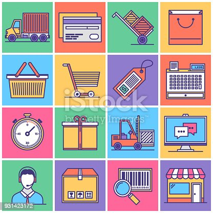 Flat Line Style Vector Illustrations for Shipping Supply Chain and Logistics.