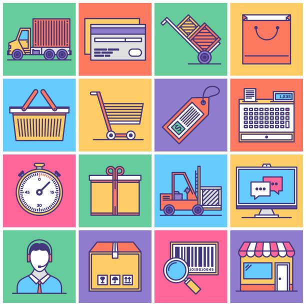 선박 공급 체인 아이콘 세트 - 시장 소매점 stock illustrations