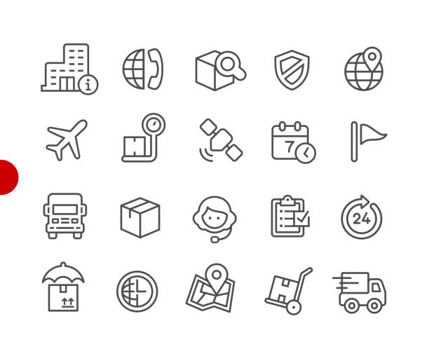 shipping & tracking icons // red point series - zbiornik wytworzony przedmiot stock illustrations