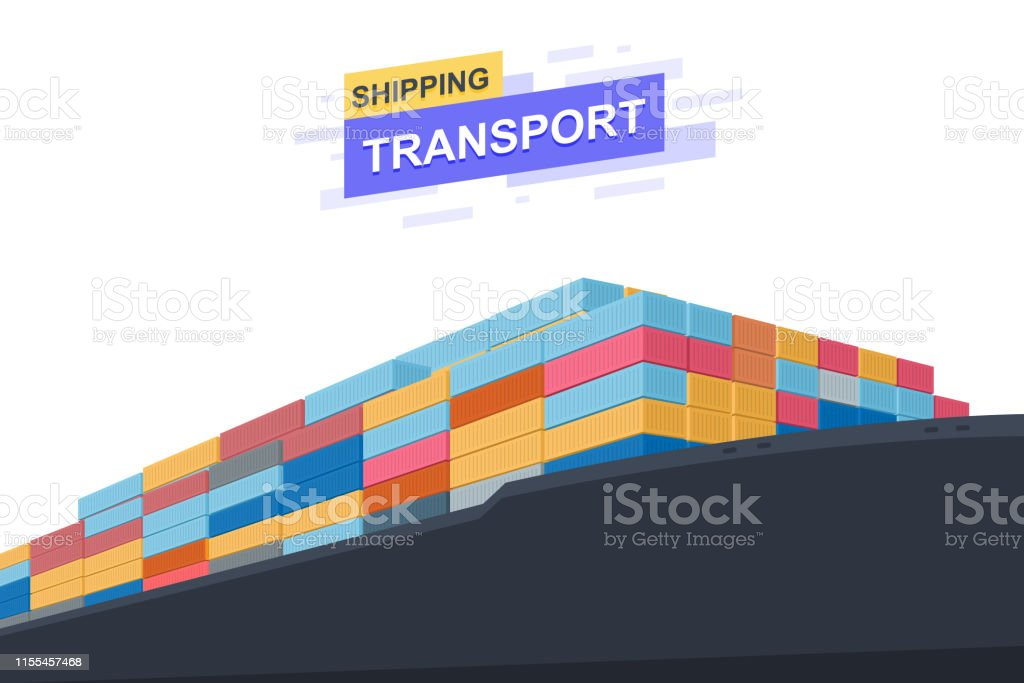 Shipping transportation. International trade. Close Up design. Vector...