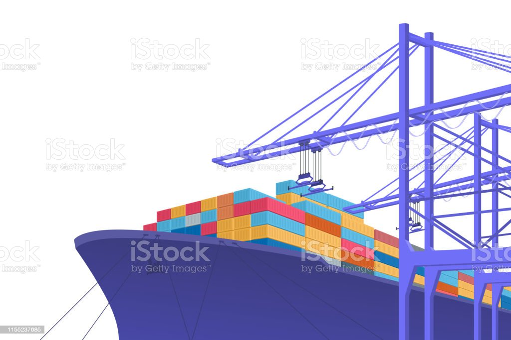 Shipping transportation. International trade. graphic design with...