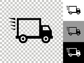 Shipping Truck Icon on Checkerboard Transparent Background. This 100% royalty free vector illustration is featuring the icon on a checkerboard pattern transparent background. There are 3 additional color variations on the right..