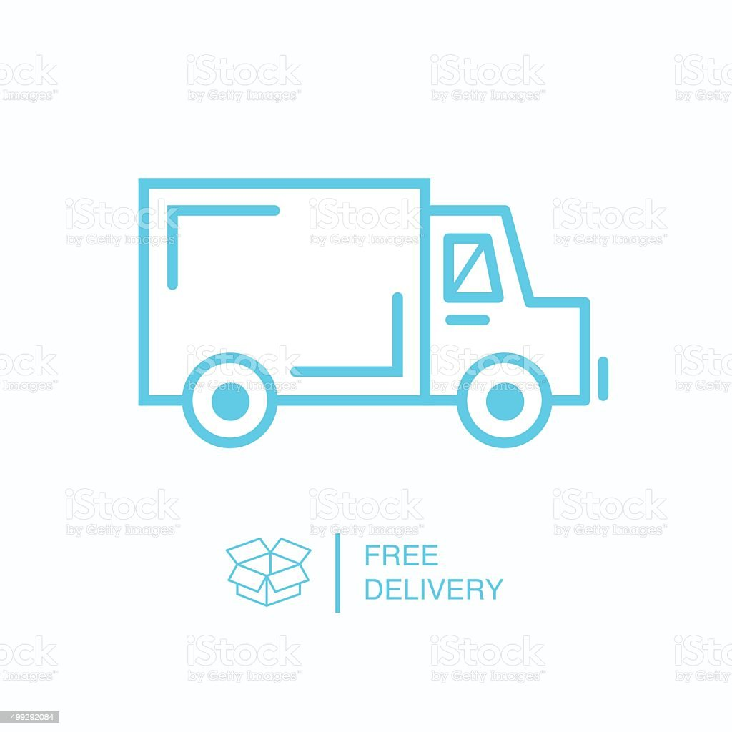 Shipping truck outline icon vector art illustration