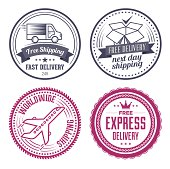 Set of vintage shipping labels, badges and design elements.