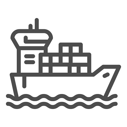 Shipping vessel with containers line icon, delivery and logistics symbol, cargo ship vector sign on white background, freight transport with loaded container ship icon outline. Vector.