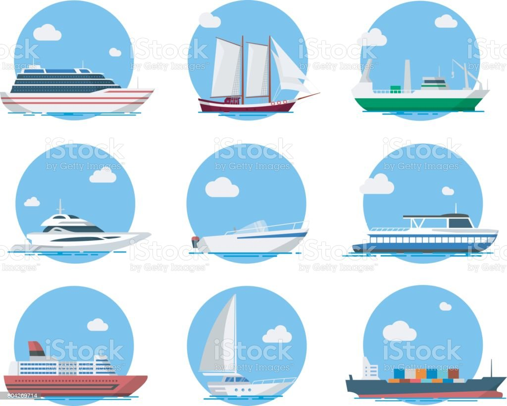 Ships and boats in flat style vector art illustration