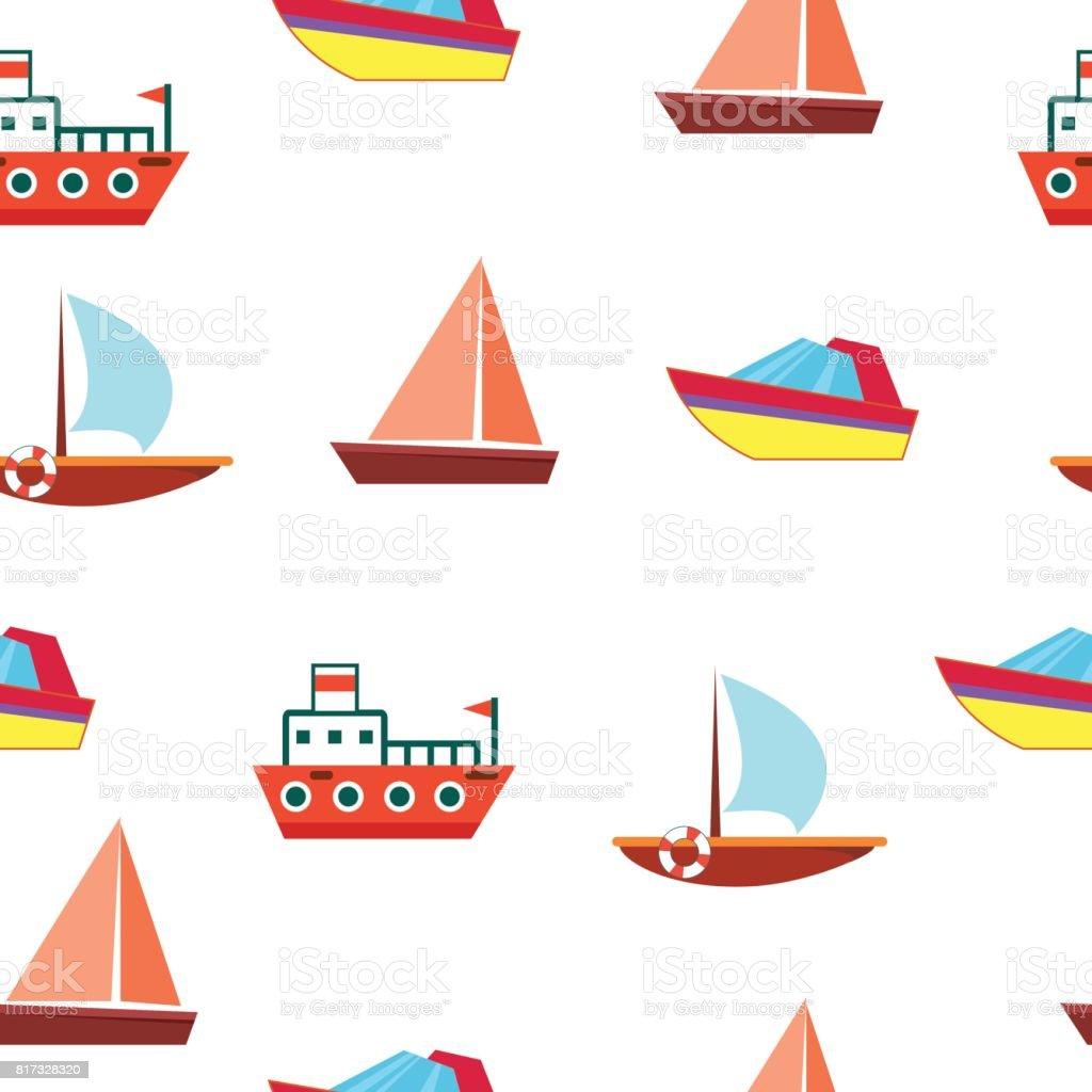 Ilustración de Barcos Y Embarcaciones Patrón Transparente De Vector ...