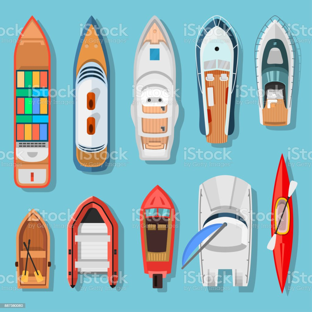 Ships and boats top view vector art illustration