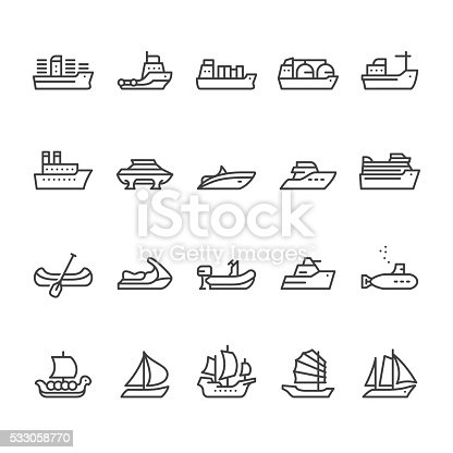 Boats, Ships and Nautical Vessel Types related vector icons.
