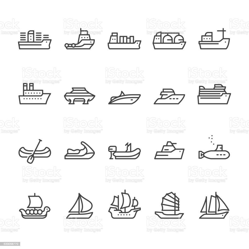 Os navios e embarcações Ícones Vetorizados - ilustração de arte em vetor
